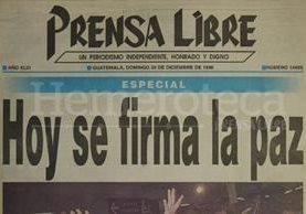 Titular de la edición especial de Prensa Libre del 29 de diciembre de 1996. (Foto: Hemeroteca PL)