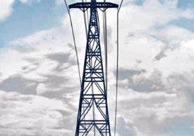 La fotografía muestra una simulación de las torres con las figuras de un quetzal y el cableado que pasa sobre el río.