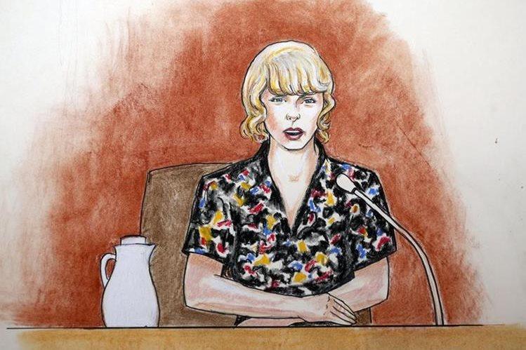 Un retrato ilustrado de Taylor Swift durante una de sus declaraciones en el jucio (Foto Prensa Libre: AP).