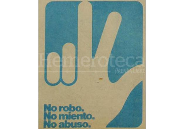 """La famosa """"manita"""" de Ríos Montt no quedaría en el olvido, ya que al fundarse años más tarde el FRG regresaría como símbolo. (Foto: Hemeroteca PL)"""