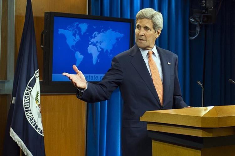 <em>El secretario de Estado, John Kerry, durante la presentación del informe este jueves en Washington. (Foto Prensa Libre: AP).</em>