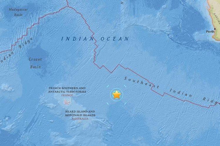 El fuerte sismo fue reportado en el Océano Índico. (Foto: captura del sitio earthquake.usgs.gov).