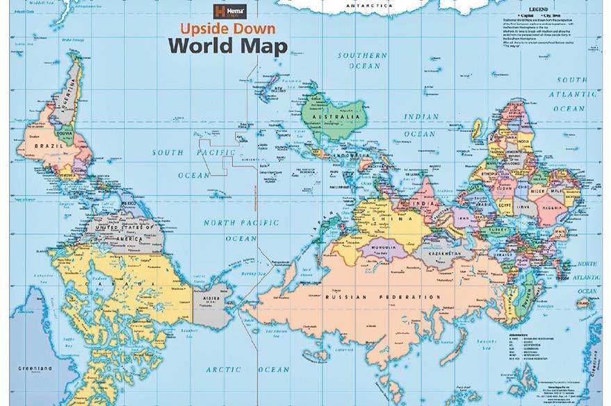No existe una razón geográfica para pensar que el norte debe estar arriba.