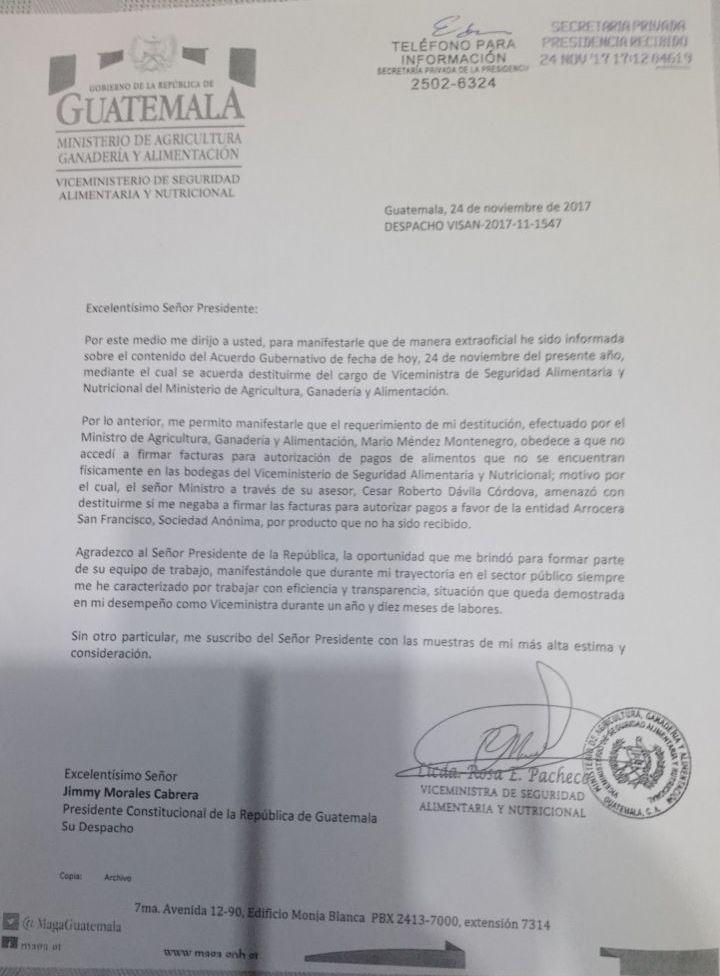 Imagen de la carta que la ex viceministra Rosa Elvira Pacheco Mangandi envió al presidente Jimmy Morales. (Foto Prensa Libre: cortesía)