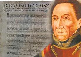 Texto original del bando para anunciar la Independencia. Retrato de Gabino Gaínza. (Foto: Hemeroteca PL)