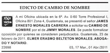 Edicto publicado en el vespertino La Hora en abril de 2011. (Foto Prensa Libre)