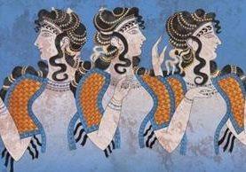 Mujeres de la cultura minoica, en frescos hallados en el palacio de Knossos, en Creta. El nuevo estudio comprueba que los minoicos estás estrechamente relacionados con sus sucesores, los micénicos. GETTY IMAGES