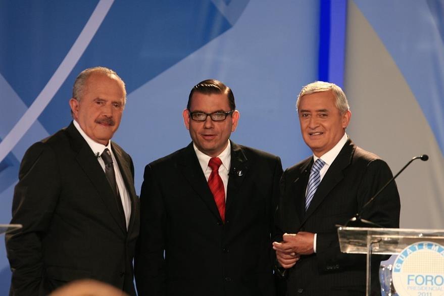 Los candidatos presidenciales Eduardo Suger (CREO), Manuel Baldizón (LIDER) y Otto Pérez Molina (PP) durante un debate, estos tres candidatos obtuvieron el 3o., 2o. y 1er. lugar respectivamente en las votaciones. (Foto: Hemeroteca PL)