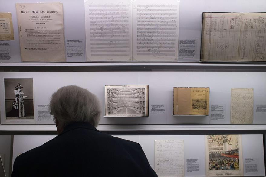 """Exposición """"Donau, so blau"""", en Viena, dedicada a la pieza cumbre de Strauss. (Foto Prensa Libre, AFP)"""