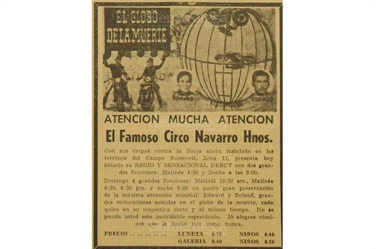 El circo  Navarro Hnos. anuncia el 5/9/1970 sobre la presentación  de su acto principal El Globo de la muerte . (Foto: Hemeroteca PL)