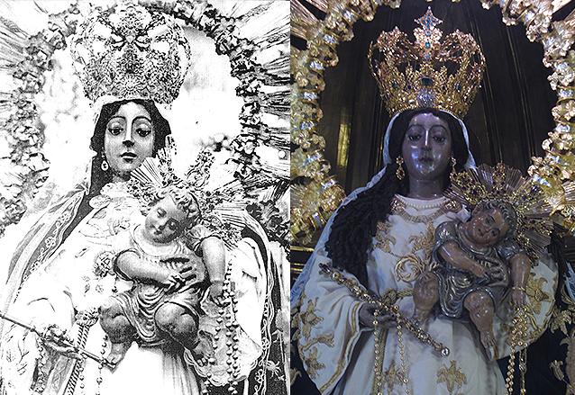 A la izquierda, la Virgen luce su corona el día de su coronación en 1934. Derecha, aspecto actual de la imagen con la misma presea. (Foto: Néstor Galicia)