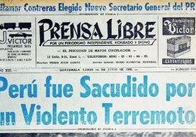 Portada de Prensa Libre del 1 de junio de 1970 cuyo titular hacía referencia el terremoto de Perú. Foto: Hemeroteca PL