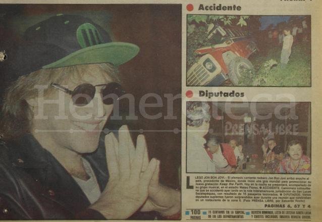 Jon Bon Jovi a su llegada al país destacaba en la portada de Prensa Libre del 31 de octubre de 1993. (Foto: Hemeroteca PL)