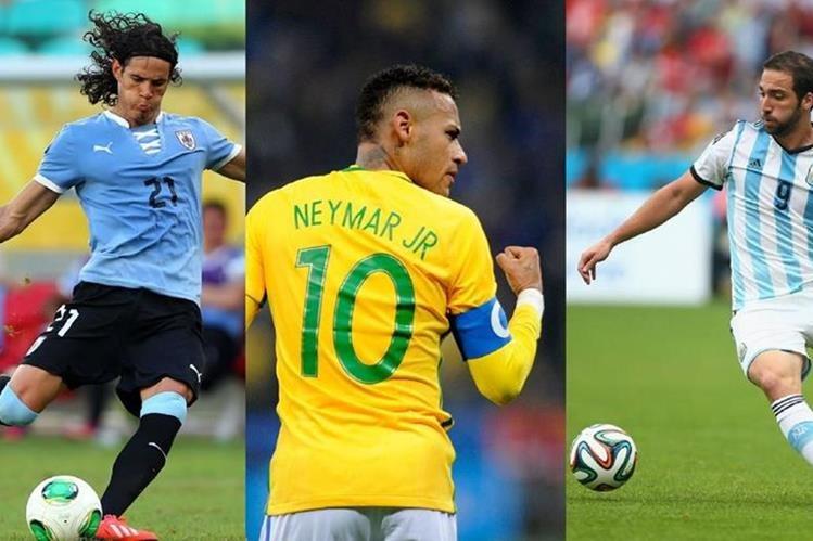 Cavani, Neymar e Higuaín serán parte de los equipos sudamericanos que tienen actividad en las clasificatorias de la Conmebol. (Foto Prensa Libre: Hemeroteca)