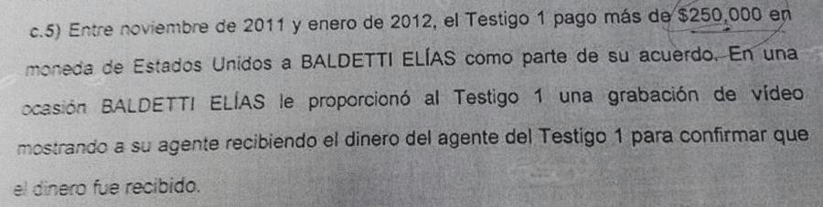 Extracto del documento de solicitud de extradición de Roxana Baldetti. Foto Prensa Libre.