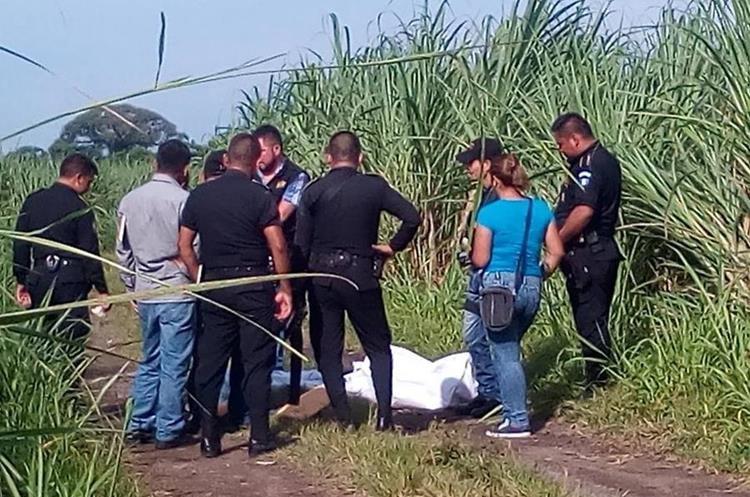El cadáver de Morelia Magdalena Álvarez Yax fue localizado entre cañaverales, en Mazatenango, Suchitepéquez. (Cristian Soto)