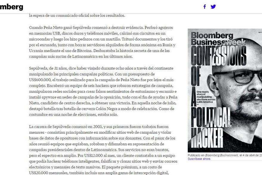 "Andrés Sepúlveda, el ""hacker"" que pone en aprietos a varios políticos de México. (Captura de pantalla del reportaje de Bloomerg en Bloomberg.com)."