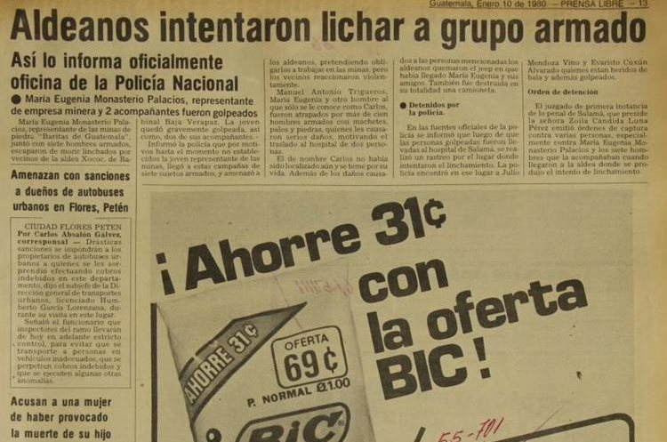 Tres empleados de una empresa minera fueron agredidos por pobladores de la aldea Xococ, Rabinal, Baja Verapaz, en rechazo a la empresa. Publicó Prensa Libre el 10 de enero de 1980.