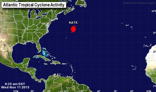 """Trayectoria del huracán """"Kate"""" sobre el Atlántico. (Foto: NHC)."""
