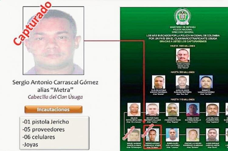 Sergio Carrascal, uno de los 16 integrantes más buscados del Clan Úsuga en Colombia.