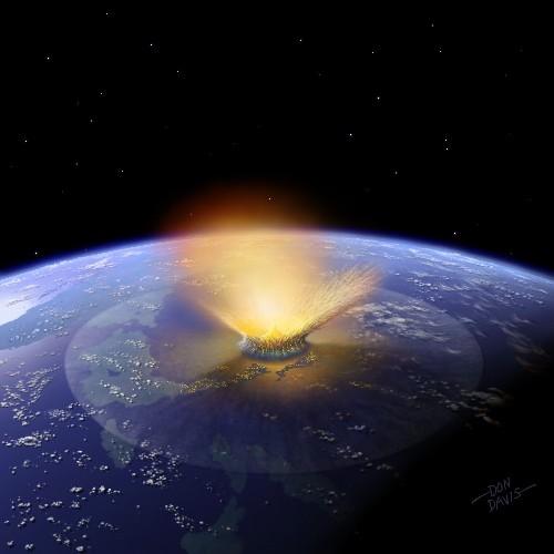 Recreación artística del impacto sobre la Tierra de un asteroide de la familia Baptistina, hace 160 millones de años.(Foto Hemeroteca PL).
