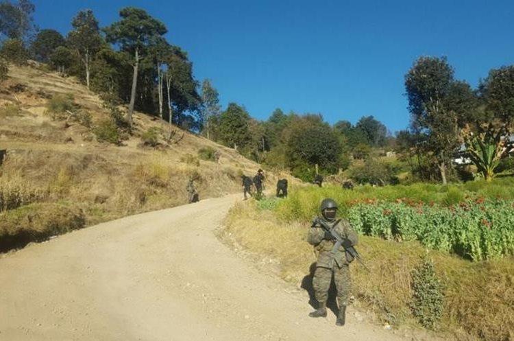 Autoridades resguardan comunidad donde se erradica amapola, en Ixchiguán, San Marcos. (Foto Prensa Libre: Whitmer Barrera).