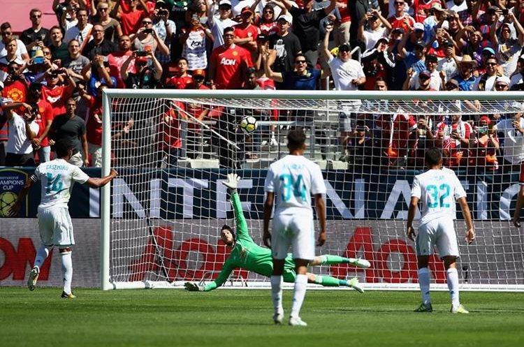 El gol de Casemiro forzó los penaltis en el partido de la International Champions Cup entre el Real Madrid y el Mánchester United. (Foto Prensa Libre: AFP).
