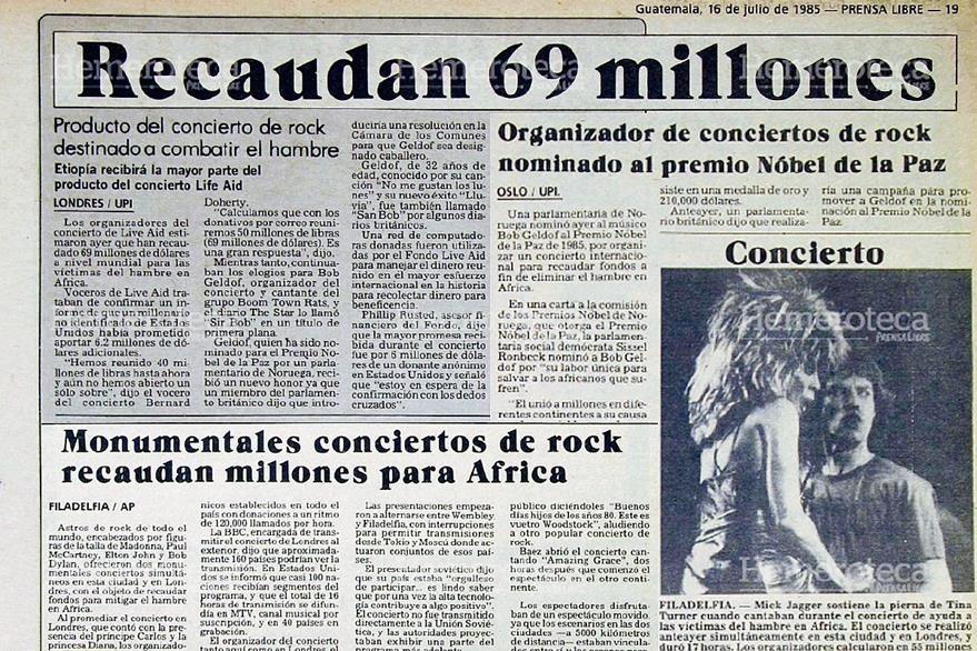 Prensa Libre registró en 1985 lo acontecido durante el evento musical benéfico. (Foto: Hemeroteca PL)