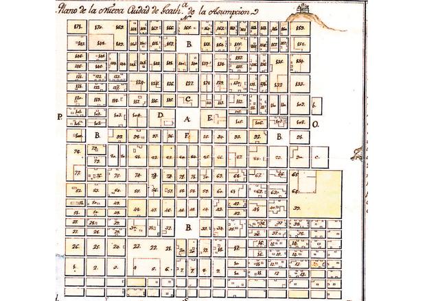 Plano de la Nueva Guatemala de la Asunción ideado por Luis Díez de Navarro. (Foto: Hemeroteca PL)