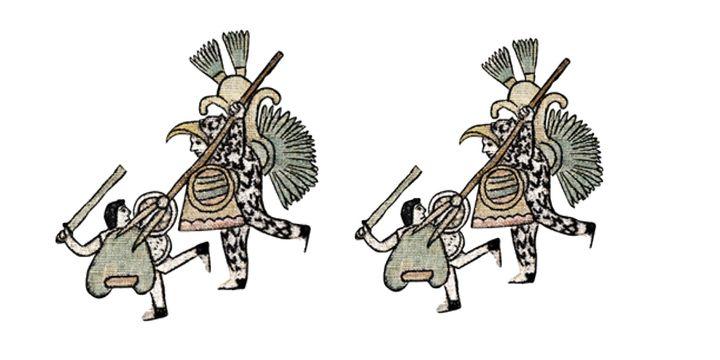 Los guerreros conquistadores se representan en una posición más alta que la de los conquistados. (Fotos: Universidad Francisco Marroquín).
