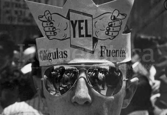 Sátira sobre el presidente Miguel Ydígoras Fuentes (1958-1963) en la Huelga de Dolores. (Foto: Hemeroteca PL)