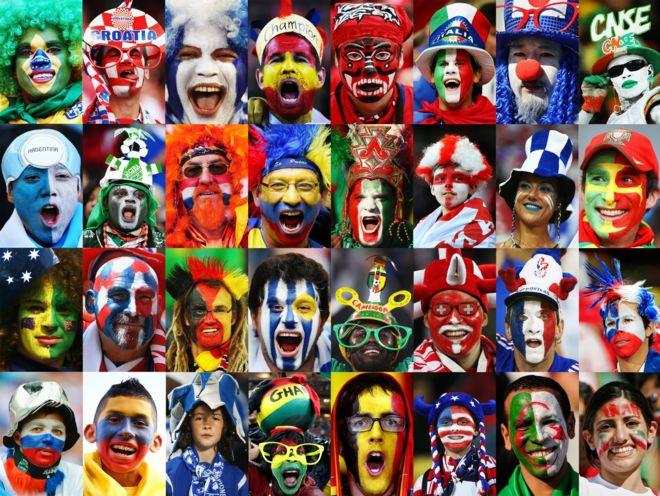 Aficionados de las selecciones participantes en el Mundial de Brasil 2014. Getty Images