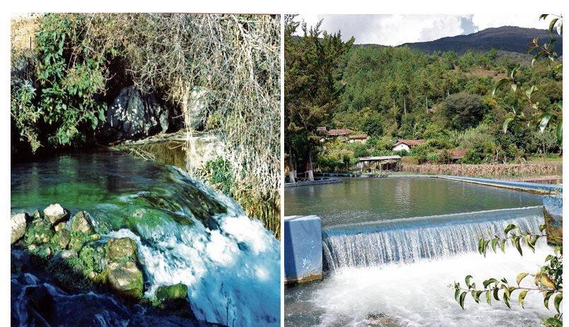 Imagen tomada en 1985 muestra la limpieza del agua del río San Juan en el sitio donde nace, en los Cuchumatanes (Izquierda). Una de las represas en el río San Juan, en Aguacatán, donde actualmente se aprovecha el agua para cultivos y consumo humano. (Fotos Prensa Libre: Hemeroteca)