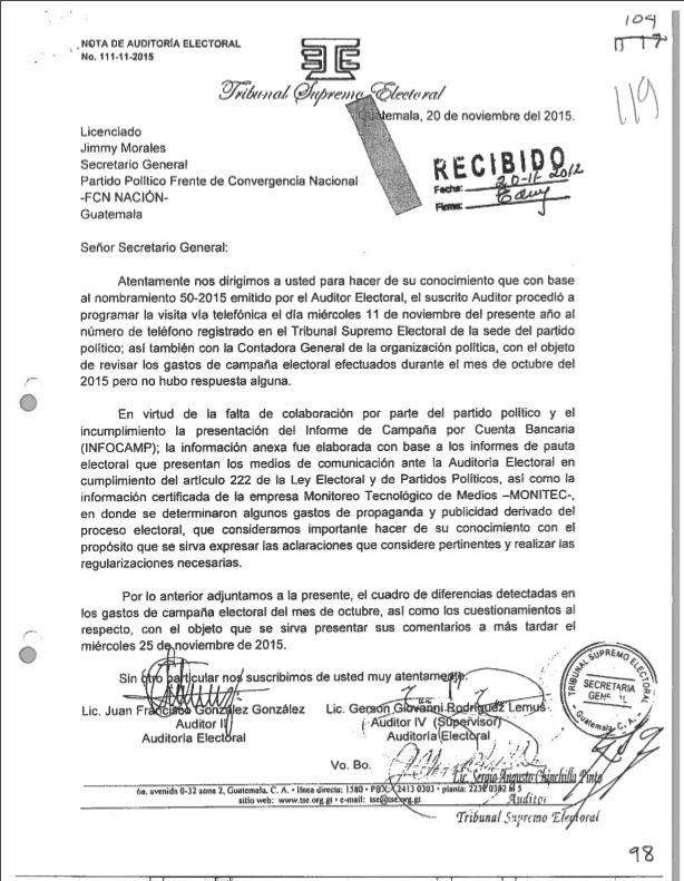 El 20 de noviembre de 2015, el TSE reiteró la falta de colaboración para una revisión de los gastos de campaña y el informe de inconsistencias detectadas en la pauta electoral.