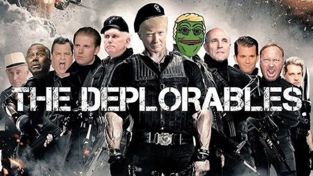 """Meme """"los deplorables"""" publicado en la cuenta de Donald Trump Jr. en Instagram. PEPE THE FROG"""