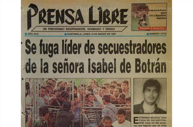 Daniel Fernando Palacios Luna, jefe y negociador de la banda que secuestró y asesinó a la señora Isabel Bonifasi de Botrán se fugó de la cárcel. 10/03/1997. (Foto: Hemeroteca PL)