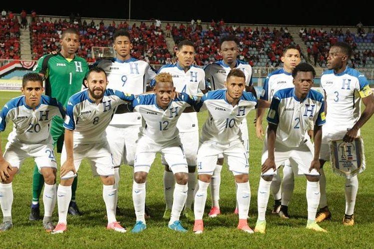 Este fue el cuadro titular del partido que Honduras le ganó a Trinidad y Tobago. (Foto Prensa Libre: AFP)