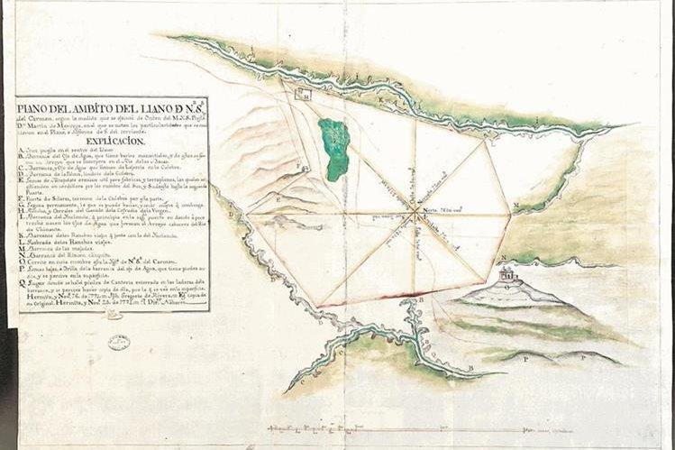 El mapa muestra el pueblo de Las Vacas, La Ermita y Chinautla (finales del siglo XVIII).