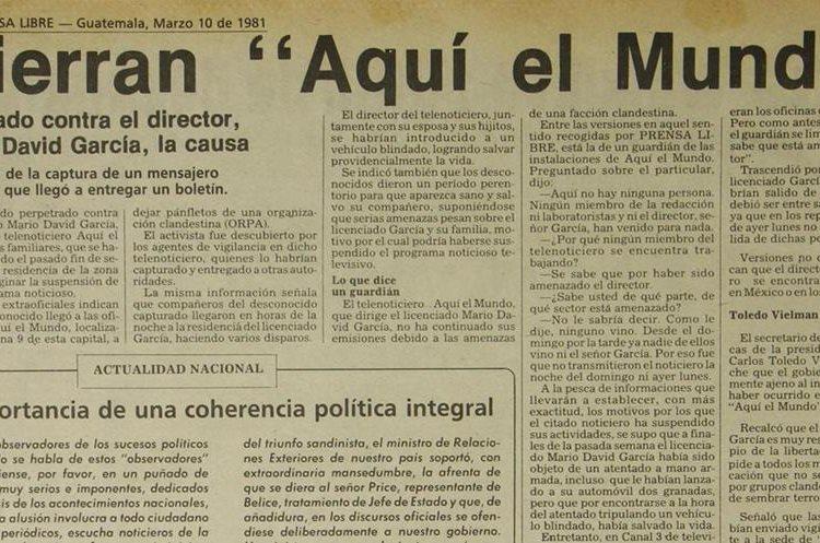 10/3/1981 El telenoticiero Aquí el Mundo cierra por amenazas de muerte. (Foto: Hemeroteca PL)