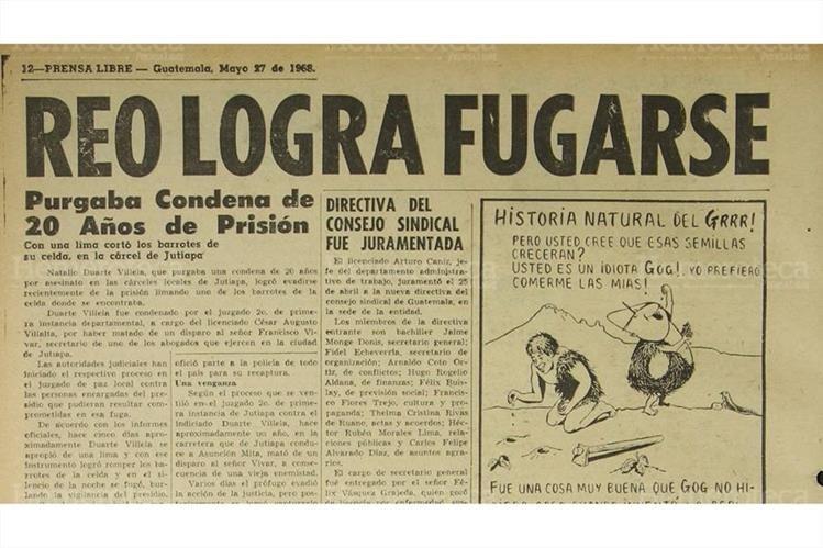 Natalio Duarte Villela, se fugó de la cárcel de Jutiapa el 27/05/1968. (Foto Hemeroteca PL)