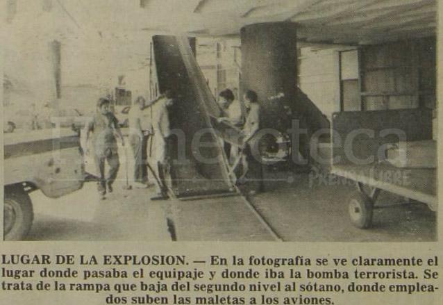 Sitio en el cual ocurrió la explosión mientras era cargado el equipaje al avión y en el que falleció un trabajador que se encontraba en el lugar. (Foto: Hemeroteca PL)