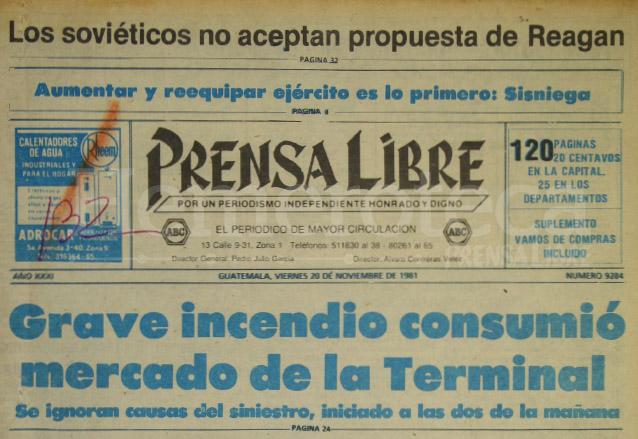 Titular de Prensa Libre del 20/11/1981. (Foto: Hemeroteca PL)