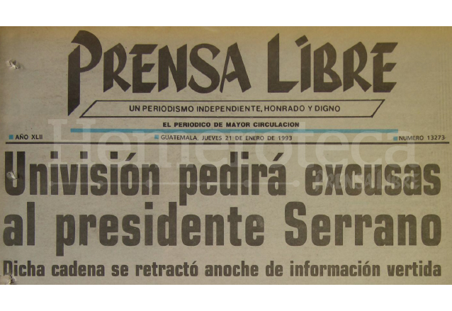 Titular de Prensa Libre del 21 de enero de 1993, destacando el escándalo en el que se envolvió al presidente Serrano. (Foto: Hemeroteca PL)