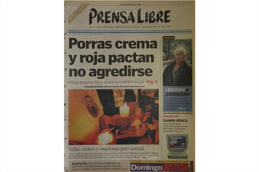 Portada de Prensa Libre del 27 de abril de 1999, un año después de la muerte de Gerardi. (Foto: Hemeroteca PL)