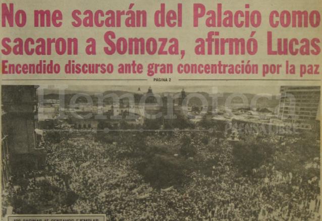 Detalle de la portada de Prensa Libre del 8 de septiembre de 1980 donde se citaba parte del discurso del presidente Romeo Lucas García. (Foto: Hemeroteca PL)