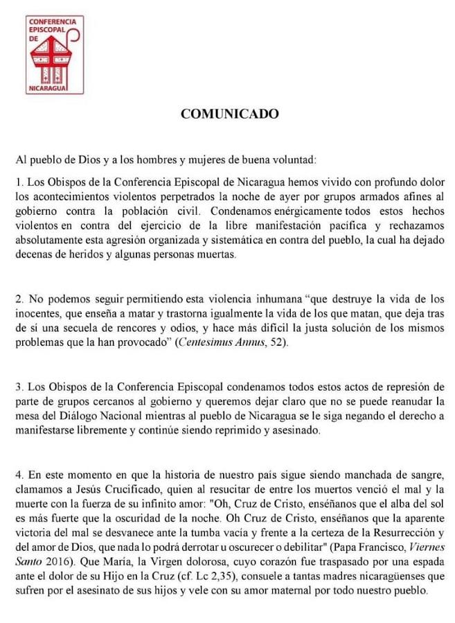 Este es el comunicado emitido por la Conferencia Episcopal en el que anuncia la suspensión del diálogo con el Gobierno. (Foto Prensa Libre: CEN)