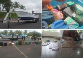 Los paquetes de cocaína eran trasladados en una embarcación, sin matrícula. (Foto Prensa Libre: MP)