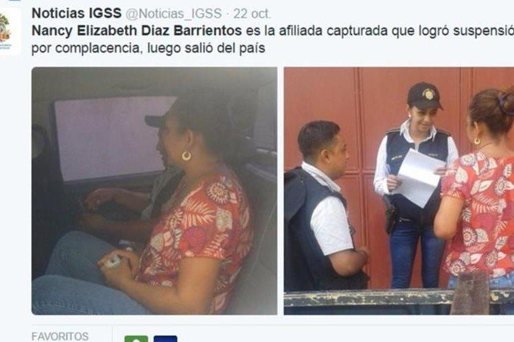 Nancy Elizabeth Díaz Barrientos fue capturada sindicada de dos delitos. (Foto Prensa Libre: IGSS)