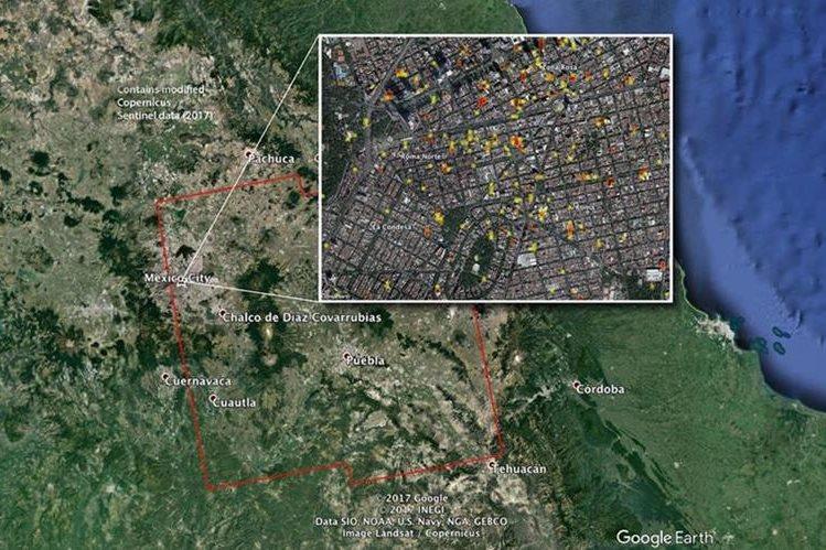 La Nasa creó un mapa de riesgos de las zonas más afectadas por el terremoto del 19 de septiembre en México. (Foto Prensa Libre: Nasa)
