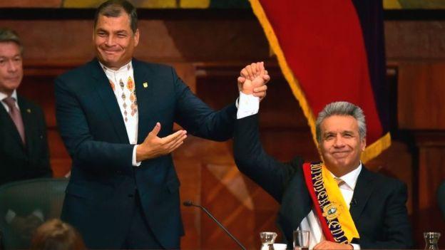 Una vez aliados, Rafael Correa y Lenín Moreno ahora están claramente enfrentados. AFP